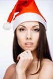 Menina lindo de Santa Imagem de Stock
