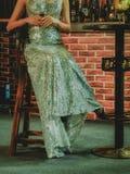 Menina longa do vestido imagens de stock royalty free