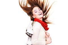 Menina louca com patins de gelo Imagem de Stock