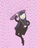 Menina louca com um guarda-chuva Fotos de Stock Royalty Free