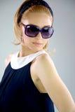 Menina loura 60s da forma eyewear Fotos de Stock