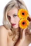 Menina loura bonita com a flor da margarida do gerber em um branco Foto de Stock