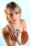 Menina loura bonita com um escudo Imagem de Stock