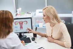 A menina loura bonita está consultando com o ginecologista imagens de stock