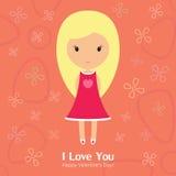Menina loura bonita para o dia de Valentim do St Foto de Stock Royalty Free