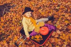 Menina loura bonita pequena com a abóbora grande no fundo do outono fotografia de stock royalty free