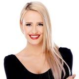 Menina loura bonito com batom vermelho em seus bordos Imagens de Stock Royalty Free