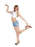 Menina loura bonito no branco Imagem de Stock Royalty Free