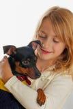 Menina loura com cão imagens de stock royalty free