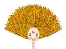 Menina loura com cabelo dramático ilustração royalty free