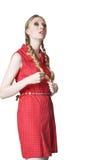 Menina loura com dobras Fotos de Stock Royalty Free