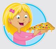 Menina que come a fatia de pizza Imagens de Stock Royalty Free
