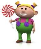 Menina loura com lollipop ilustração do vetor