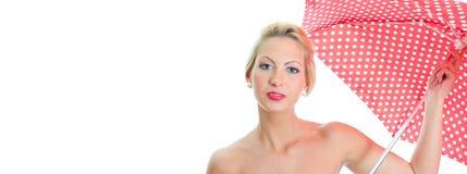 Menina loura com o guarda-chuva manchado vintage foto de stock royalty free