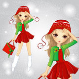 Menina loura da forma vestida como Santa Holding Bag Ilustração do Vetor