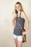 Menina loura de sorriso fotos de stock royalty free