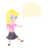 menina loura inteligente dos desenhos animados retros com bolha do pensamento ilustração stock