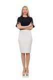 Menina loura na saia preta isolada no branco Imagem de Stock