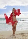 Menina loura no biquini vermelho em Havaí Fotos de Stock