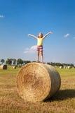 Menina loura no campo do outono Imagem de Stock