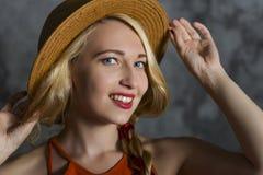 Menina loura no chapéu Imagem de Stock Royalty Free