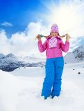 Menina loura no dia de inverno Fotos de Stock Royalty Free