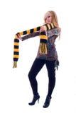 Menina loura no lenço amarelo preto. fotos de stock royalty free