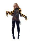 Menina loura no lenço amarelo preto. imagens de stock