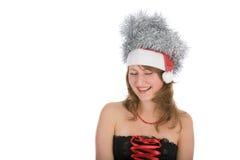 Menina loura nova com presente do vermelho Fotografia de Stock Royalty Free
