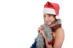 Menina loura nova com presente do vermelho fotografia de stock
