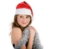 Menina loura nova com presente do vermelho foto de stock