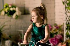 A menina loura pequena em um vestido verde Imagens de Stock Royalty Free