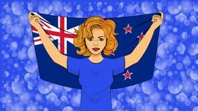 Menina loura que guarda uma bandeira nacional de Nova Zelândia ilustração stock