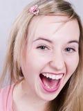Menina loura smilling bonito Foto de Stock Royalty Free
