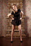 Menina luxuosa, entre o interior do vintage imagem de stock royalty free