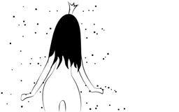 A menina macia pequena preto e branco magro, frágil da princesa com uma coroa com uma figura delgada bonita girou com ela para tr ilustração royalty free