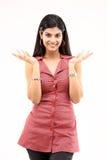 Menina magro bonita com ações agradáveis das mãos imagens de stock royalty free