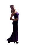 Menina magro bonita no vestido de noite longo fotografia de stock