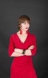 Menina magro em um vestido vermelho Imagens de Stock