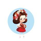 Menina mais bonito com o pretzel no dirndl Imagem de Stock
