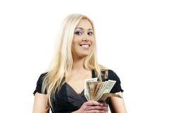 A menina mantem o dinheiro imagens de stock royalty free