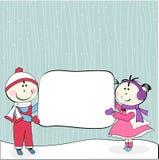 Menina, menino e quadro de avisos Imagem de Stock Royalty Free