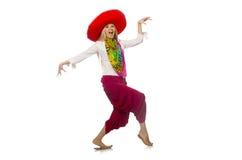 Menina mexicana com dança do sombreiro no branco Fotos de Stock Royalty Free
