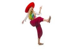 Menina mexicana com dança do sombreiro no branco Imagens de Stock