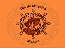 A menina mexicana em um sombreiro guarda velas ilustração do vetor