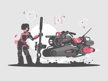 Menina militar com rifle de atirador furtivo ilustração stock