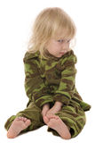 Menina militar engraçada Fotos de Stock Royalty Free