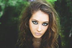 Menina modelo da beleza com composição Foto de Stock