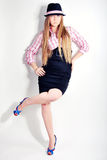 Menina, modelo, fundo, escritório, louro Imagens de Stock Royalty Free