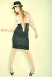 Menina, modelo, fundo, escritório, louro Imagem de Stock Royalty Free